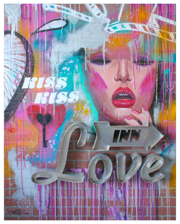 Luv Inn 2018 – Spray paint, mixed media on wood Panel 60×48