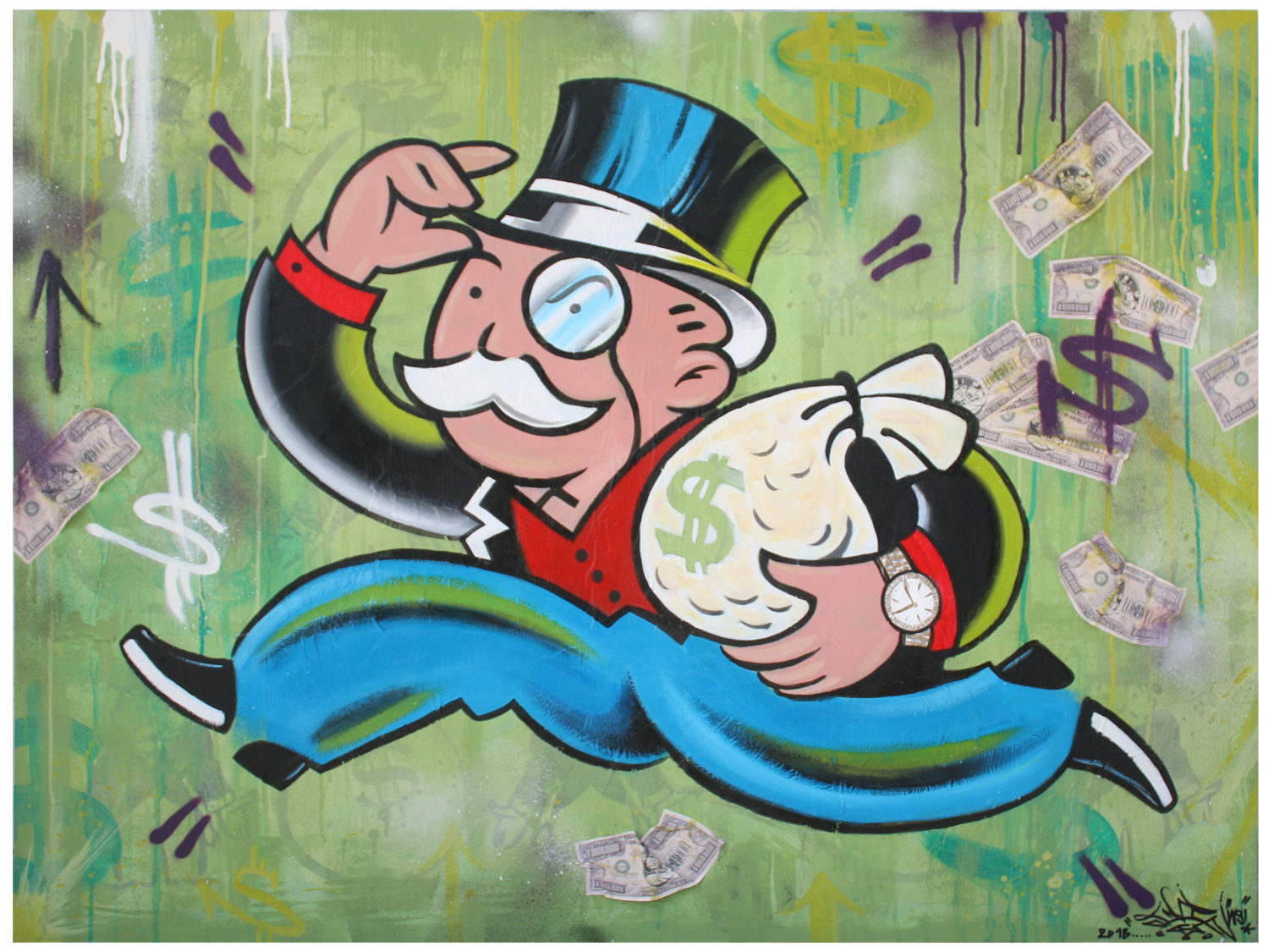 Monopoly Cash 2018 – Spray Paint, Acrylic, Mixed Media on Wood Panel – 36×48