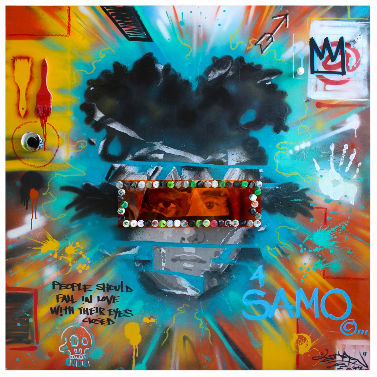 Changing Parallels 2018 – Spray Paint, Acrylic, Mixed Media on Wood Panel 48×48